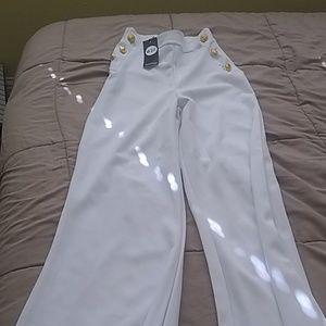 Paris Hilton boohoo white wide leg pants